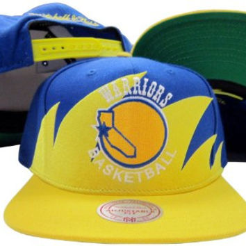 San Francisco Warriors Mitchell & Ness Snapback Adjustable Plastic Snap Back Hat / Cap
