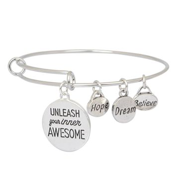 Believe Dream Hope Expandable Charm Bangle Bracelet Unleash Your Inner Awesome