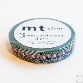 mt Slim 3mm Washi Tape Trio Dull Tone Metallics