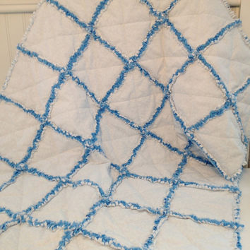 Blue and White Baby Boy Rag Quilt, Crib Quilt, Toddler Quilt, Nursery Blanket, 35 X 48.Handmade, Ready to Ship