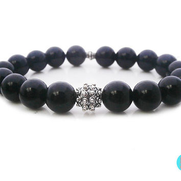 Men's Black Onyx and 925 Sterling Silver Granulation Bead Bracelet, Men's 10mm Black Onyx and Silver Bali Bead Bracelet