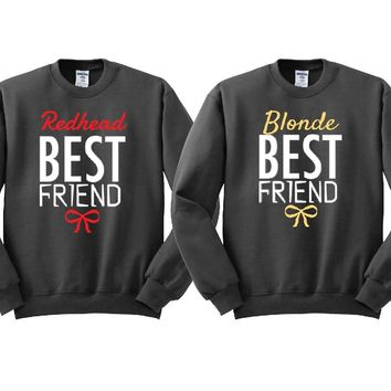 Blonde and Redhead Best Friends Girl BFFS Sweatshirts