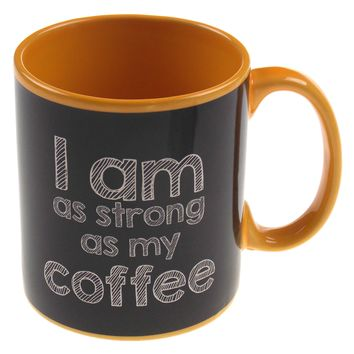 G For Gifts Yellow Black Mug Large 20 oz I Am As Strong As My Coffee