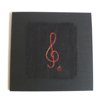 Card for music lover, musician or music student. Blank card for birthday, a thank you card, or note card. Embroidered treble clef design.