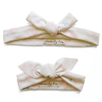 Set of Two Heart of Hearts Organic Stretch Knit Head Tie For Mom & Baby