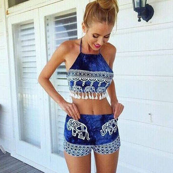 India Elephant Print Halter Cropped Top Shorts Set
