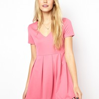 Lavish Alice Pink Structured Skater Dress - Pink