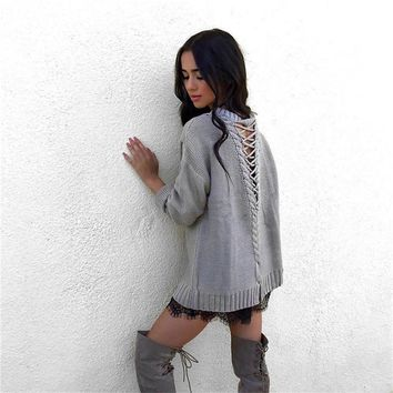 Winter Lace Up Knitted Sweater