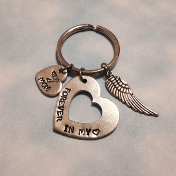 Personalized hand stamped aluminum heart washer memorial key chain forever in my heart - Mom