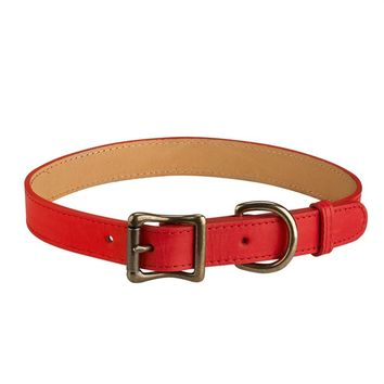 Personalized Dog Collar Italian Leather | Red