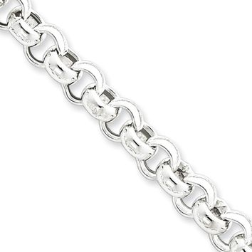 Men's 7.75mm, Sterling Silver, Hollow Rolo Chain Necklace, 20 Inch