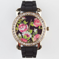 Rhinestone Floral Watch Black One Size For Women 23318510001