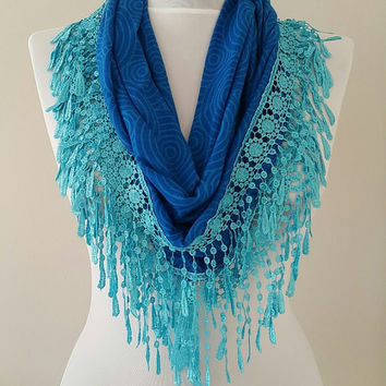 Gift For Her, Gift Ideas, Blue Victorian Lace Guipure Scarf, Womens Gifts, Womens Scarves, Gift For Wife