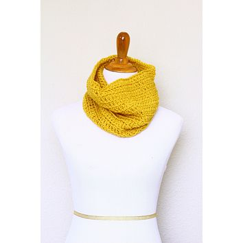 Crochet infinity scarf in mustard color, chunky cowl - 12 colors available