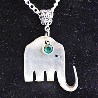 Birthday birthstone elephant silverware pendant on coice of chain, silver jewelry, charm, free gift box, birthday, Mother's day gift