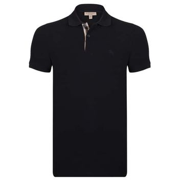 Men's Burberry Short Sleeve Black Polo Shirt | Overstock.com Shopping - The Best Deals on Casual Shirts