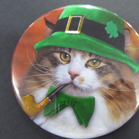 Cat lovers St Patrick button magnet pick your picture