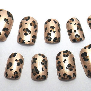Press On Nails Leopard Print Gold Animal