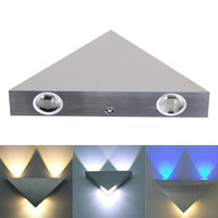 3W Triangle Aluminum LED Wall Lamp AC85-265V 3W High Power Modern Home Decorating Lamp Light Bedroom Bedside Wall Lamp