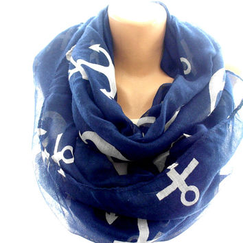 Navy blue infinity scarf, anchor scarf, loop scarf, chevron scarf, scarves for women, cozy scarf, trendy scarf