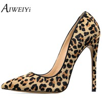 AIWEIYi Women's Stiletto High Heels Leopard Print Pump Shoes Pointed toe Slip On High