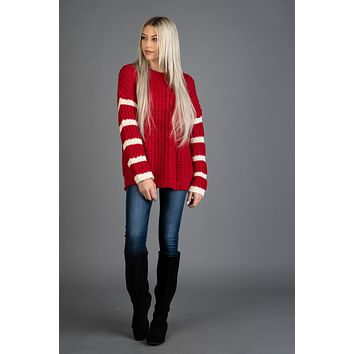 Red Knit Sweater with Ivory Striped Sleeves