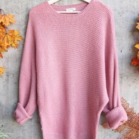 aspen womens chunky crew neck sweater - pink