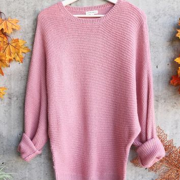 aspen womens chunky chrew neck sweater - pink