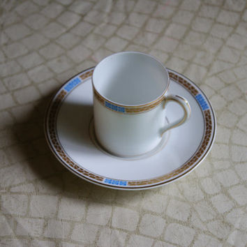 Vintage Ceramic Pottery China Gold And Blue German Porcelain Barista Demitasse Childs Coffee Or Tea Cup And Saucer Hutschenreuther Hohenberg
