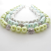 Triple Strand Necklace:  Aqua, Lime Green, and White