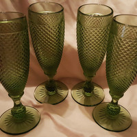 A Set of Four Forest Green Ivima 1895 Handmade Hobnail Champagne Flutes, Forest Green Hobnail Champagne Stem Glasses, Hobnail Glass Portugal