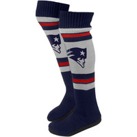 New England Patriots Ladies Knit Knee Slipper Socks - Gray/Navy Blue