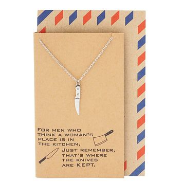 Drew Gifts for Mom Knife Necklace Women's Day Quotes on Greeting Card