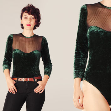 90s Green Black Sheer Velvet Bodysuit / Deep Green Transparent Polka Dot Leotard / Party Christmas Rocker Goth Bodysuit