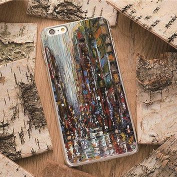 New York City View Manhattan NYC Paint For iPhone 5 6 7 8 Plus X 10 Case Cover