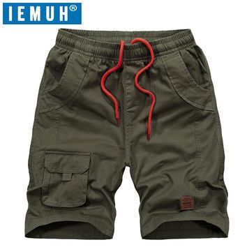IEMUH Summer Beach Shorts Men Swimming Shorts 100% Cotton Leisure Sport Running Jogger Shorts Quick Dry Surf Men's Board Shorts