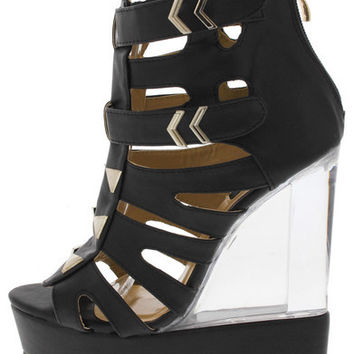 DEMI03 BLACK STUDDED CLEAR LUCITE WEDGE
