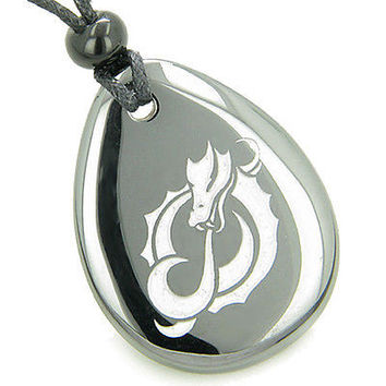 Magic and Protection Fire of Courage Dragon Amulet Hematite Lucky Wish Stone Nec