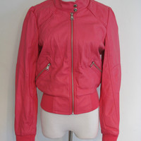 Therapy by Lane Crawford Pink Faux Leather Moto Jacket M