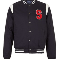 NAVY VARSITY WADDED BOMBER JACKET - Men's Jackets & Coats - Clothing - TOPMAN USA
