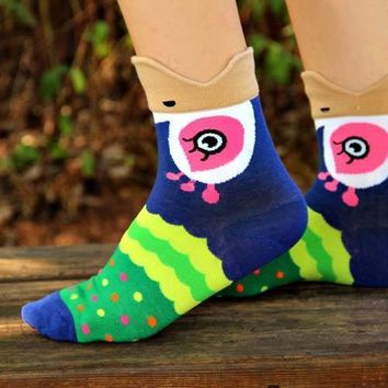 Pretty Peacock Bird Shaped Animal Short Cotton Socks for Women