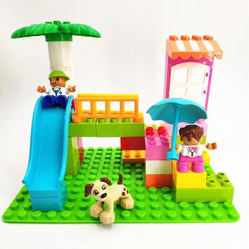 Diy Large Particle Building Blocks Dog Swing Tree Girls Figures Accessories Compatible with Legoingly Duplo Toys For Children