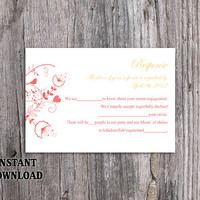 DIY Wedding RSVP Template Editable Word File Instant Download Rsvp Template Printable RSVP Cards Red Rsvp Card Template Elegant Rsvp Card