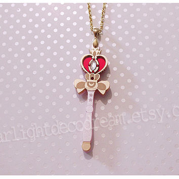 Spiral Heart Moon Rod Sailor Moon Inspired Necklace for Magical Girl Mahou Kei Fashion and Kawaii