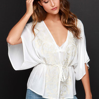 Sweet Sunshine Ivory Embroidered Kimono Top