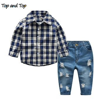 Spring Autumn Kids Gentleman Clothes Boys Plaid Long Sleeve Shirts Ripped Denim Jeans Children Clothing Set
