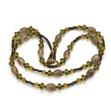 Long Yellow Avocado Green Glass Necklace, Casual Boho Chic Jewelry, ALFAdesigns