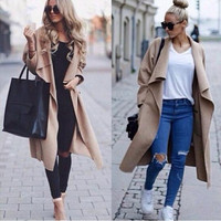 Fashion Women Long Loose Casual Coat = 1876590532