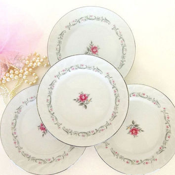 Vintage Royal Swirl Fine China FOUR dessert plates or b and b, rose floral, silver trim white gray scroll Japan Mid Century tea party plates