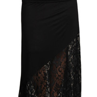 Womens PLUS SIZE Black Mixed Material Lace Inset Maxi Skirt